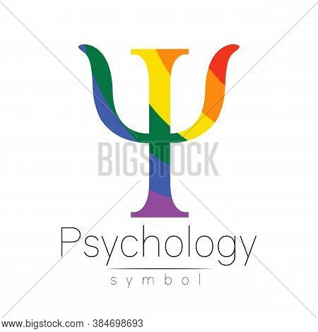 Vector Psychology Lgbtqa Symbol. Pride Flag Background. Icon For Gay, Lesbian, Bisexual, Transsexual