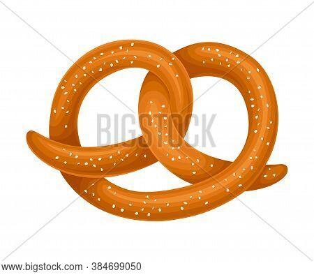 Tasty Salty Pretzel As Baked Pastry Vector Illustration