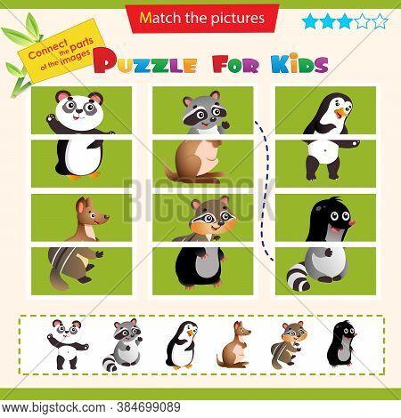 Matching Game For Children. Puzzle For Kids. Set Of Animals. Panda, Raccoon, Penguin, Chipmunk, Kang