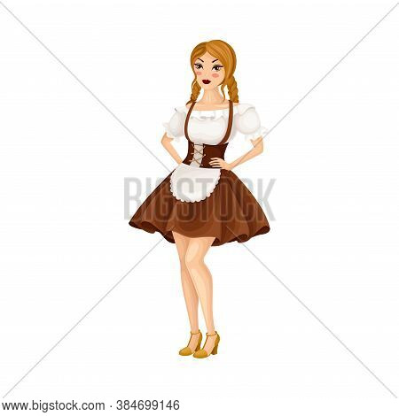 Young Female Dressed In Traditional German Or Bavarian Costume With Apron Vector Illustration