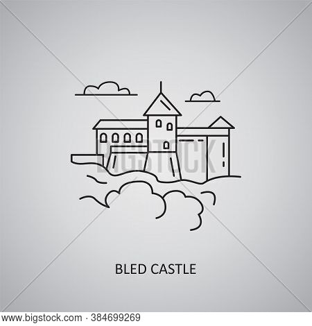 Bled Castle Icon On Grey Background. Slovenia, Bled. Line Icon