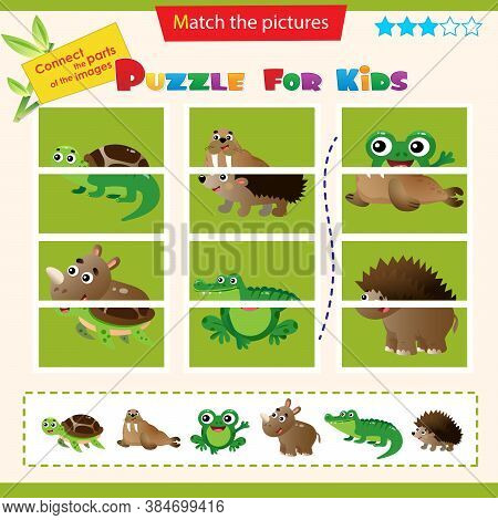 Matching Game For Children. Puzzle For Kids. Set Of Animals. Turtle, Walrus, Frog, Rhinoceros, Croco