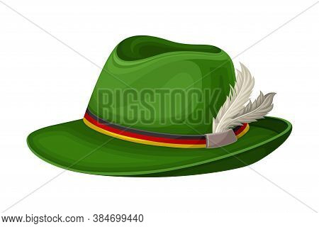 Green Wide Brimmed Hat With Feathers And Colorful Ribbon Vector Illustration