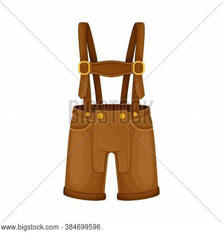 Lederhosen As National Clothing Of Bavarian Vector Illustration