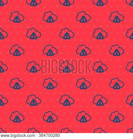 Blue Line Storm Warning Icon Isolated Seamless Pattern On Red Background. Exclamation Mark In Triang