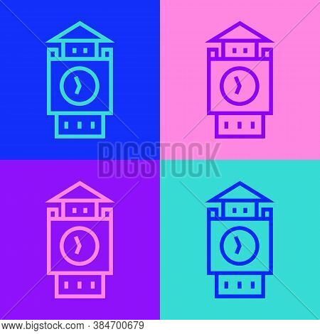 Pop Art Line Big Ben Tower Icon Isolated On Color Background. Symbol Of London And United Kingdom. V
