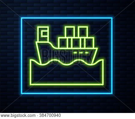 Glowing Neon Line Cargo Ship With Boxes Delivery Service Icon Isolated On Brick Wall Background. Del