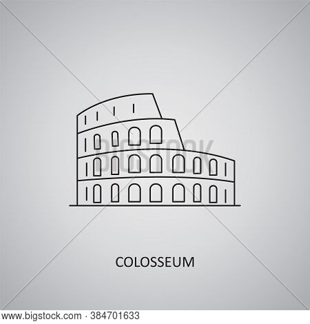 Colosseum Icon On Grey Background. Italy, Rome. Line Icon