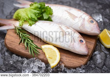 Fresh Raw Fish With Ingredients  Lemon Rosemary And Lettuce For Making Cooked Food On Ice At Market
