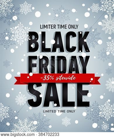 Black Friday Sale Poster On Ropes. Sale Poster With Red Ribbon On Snowy Background. Seasonal Sale. O