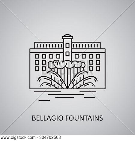 Bellagio Fountains Icon On Grey Background. Usa, Las Vegas. Line Icon