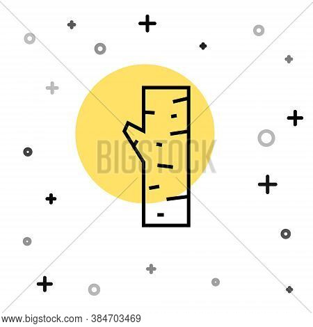 Black Line Birch Tree Icon Isolated On White Background. Random Dynamic Shapes. Vector