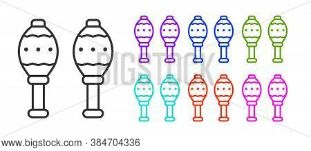 Black Line Maracas Icon Isolated On White Background. Music Maracas Instrument Mexico. Set Icons Col