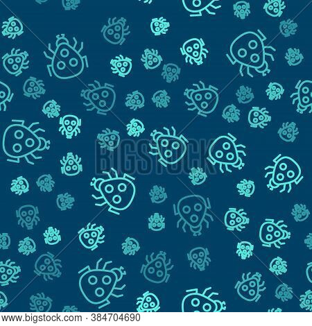 Green Line Ladybug Icon Isolated Seamless Pattern On Blue Background. Vector