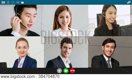 Business People Group Meeting In Video Conference On Laptop Monitor View. Online Seminar Application
