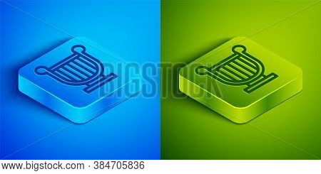 Isometric Line Ancient Greek Lyre Icon Isolated On Blue And Green Background. Classical Music Instru