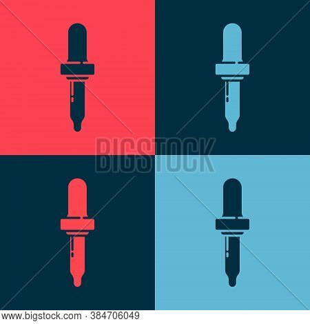 Pop Art Pipette Icon Isolated On Color Background. Element Of Medical, Chemistry Lab Equipment. Pipe