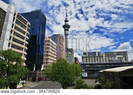Auckland / New Zealand - 15 Dec 2018: The Sky Tower In Auckland City, New Zealand