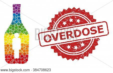 Alcoholic Person Collage Icon Of Circle Spots In Variable Sizes And Lgbt Color Tones, And Overdose D