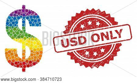 Dollar Symbol Mosaic Icon Of Spheric Dots In Various Sizes And Lgbt Color Tinges, And Usd Only Textu