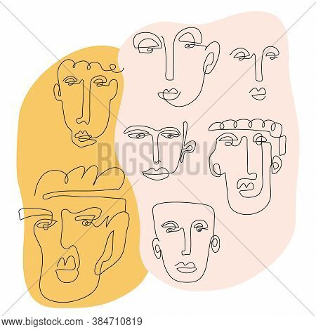 Set Of Five Abstract Face One Line Drawing. Portrait Minimalistic Style. Fine One Line Drawing Abstr