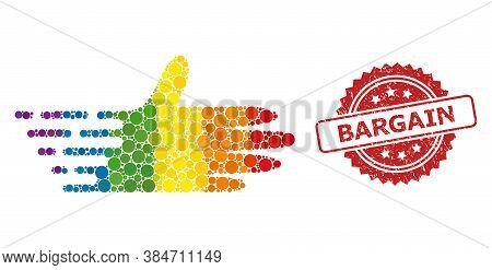Moving Hand Collage Icon Of Round Items In Various Sizes And Lgbt Colorful Color Tones, And Bargain