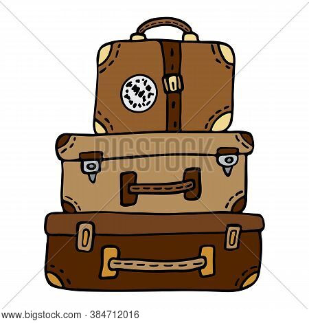 A Stack Of Retro Leather Traveler Suitcases With A Sticker And Straps, Brown And Red. Vector Illustr
