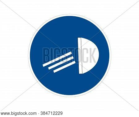 Traffic Sign, Mandatory Low Beam, Reflector At Blue Circle Frame, Vector Icon