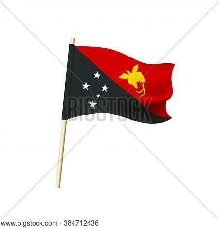 Papua New Guinea Flag. Flying Bird Of Paradise And Southern Cross Constellation On Background Of Red