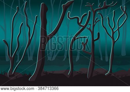 Ghostly Foggy Forest. Silhouettes Of The Trees Against The Glow. Tree Trunks In Blue Misti Mystery.