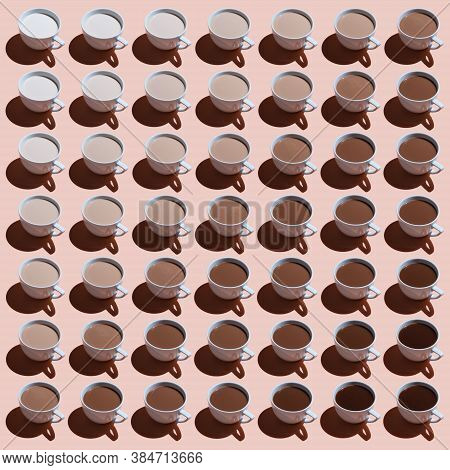 Square Image With Several Cups With Different Proportions Of Milk And Coffee. Diagonal Gradient Of C
