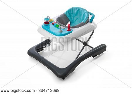 Modern Baby Walker With  Toys Isolated On White