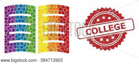 Open Book Mosaic Icon Of Circle Items In Various Sizes And Lgbt Colored Color Tones, And College Dir