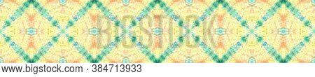 Swimwear Fabric Design.  Multicolor Natural Ethnic Illustration. Blue And Yellow Textile Print. Asia