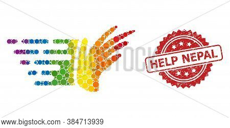 Hand Collage Icon Of Round Dots In Different Sizes And Lgbt Colored Color Tinges, And Help Nepal Unc