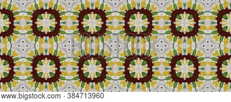 African Motif Pattern. Abstract Ikat Motif. Green And Black Texture. Seamless Tie Dye Ornament. Ikat