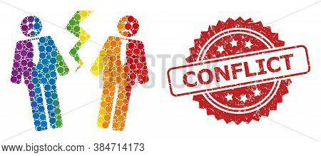 Businessmen Conflict Collage Icon Of Circle Elements In Different Sizes And Lgbt Colorful Color Tint