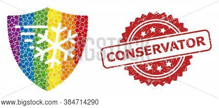 Frost Protection Collage Icon Of Circle Spots In Various Sizes And Spectrum Color Hues, And Conserva