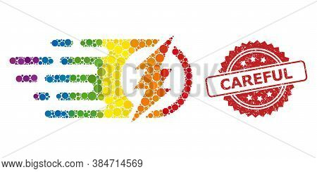 Electric Spark Collage Icon Of Spheric Spots In Variable Sizes And Rainbow Colored Color Tinges, And