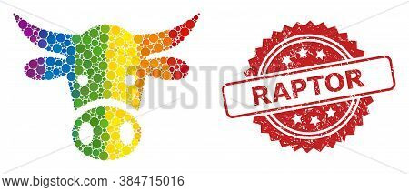 Cow Head Mosaic Icon Of Circle Items In Various Sizes And Lgbt Colored Shades, And Raptor Rubber Ros