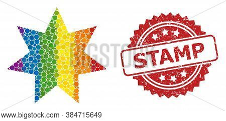 Eight Corner Star Collage Icon Of Round Elements In Variable Sizes And Lgbt Multicolored Color Tints