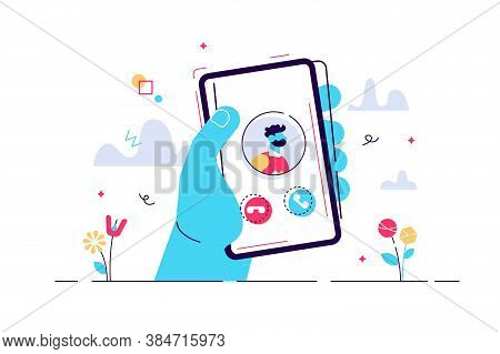 Incoming Call Concept Flat Tiny Person Vector Illustration. Hand Holding Phone To Pick Up Conversati