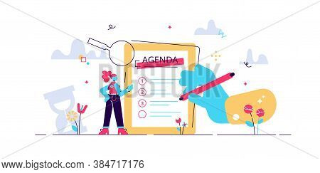 Meeting Agenda Vector Illustration. Time Schedule Flat Tiny Persons Concept. Abstract Business Appoi