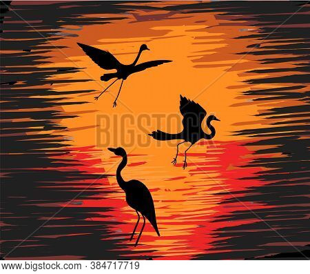 Three Silhouettes Of Storks With Colorful Orange And Red Sunset In Background