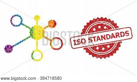 Relations Mosaic Icon Of Filled Circle Dots In Various Sizes And Lgbt Colored Color Hues, And Iso St