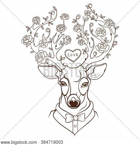 Vector Dressed Up Deer With Blooming Red Roses On Antlers. Spring Snow And Turquoise Background