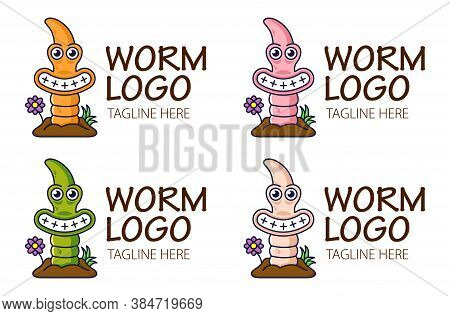 Funny Cute Earthworm Climbs Out Of The Ground And Smiling. Logo For Bait Shop Or Fishing Icon. Four