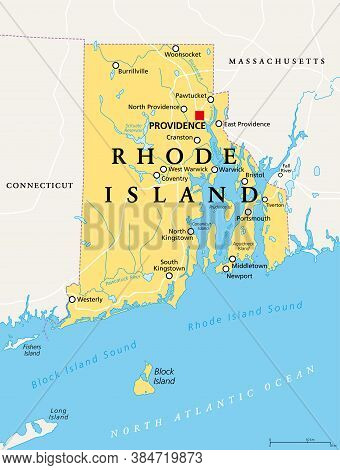 Rhode Island, Political Map With The Capital Providence. State Of Rhode Island And Providence Planta