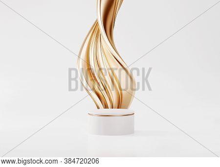 3d Pedestal Podium With Gold Liquid Swirl Flow On White Studio Background. Golden Fluid Splash. Sing
