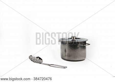 Saucepan And Skimmer Isolated On White Background. Image Contains Copy Space